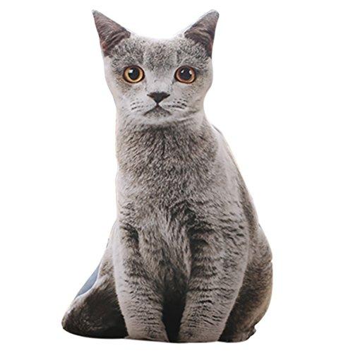 ChezMax Cute 3D Stuffed Plush Grey Cat Shape Pillow Insert Filler Filling Throw Pillow Plush Play Toy Doll (Stuffed Body Parts)