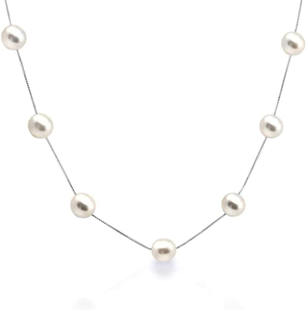 Minely Jewels Precioso Collar Hecho a Mano con 11 Perlas Redondas y Cadena de Plata de Ley 925 de 46 cm. Auténticas Perlas Cultivadas de Agua Dulce de 6mm Calidad AAA