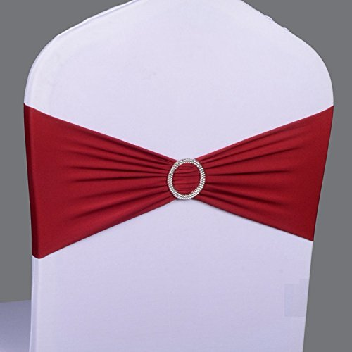 50PCS Spandex Chair Sashes Bows Elastic Chair Bands With Buckle Slider Sashes Bows For Wedding Decorations sy66 (Wine Red) : chair sash buckle - Cheerinfomania.Com
