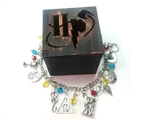 GSC Moda Time Turner Horcrux Charm Crystal bead Pendent Alloy Bracelet girl Movie Jewelry Harry Potter Fans with wooden box
