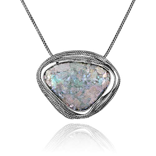 PZ Paz Creations 925 Sterling Silver Ancient Iridescent Roman Glass Freeform Pendant Necklace | 18 Inch Collar Box Chain Statement Jewelry for Women | Made in Israel