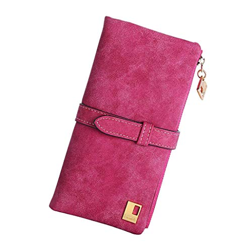 Women's Large Capacity Luxury Genuine Leather Clutch Long Wallet Card Holder Organizer Ladies Purse (rose red)