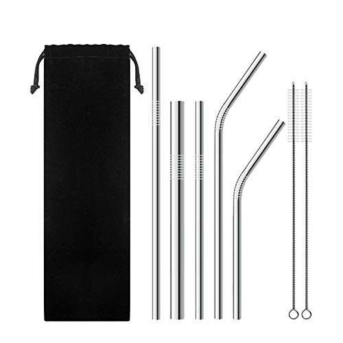 - Fiesta 7Pcs/lot Stainless Steel Metal Juice Milk Drinking Beverage Straws Set with 2 Reusable Cleaning Brushes 1 bag Kits: A