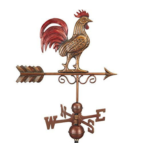 Good Directions 1975RED Bantam Red Rooster Weathervane, Pure Copper Hand Finished Multi-Color Patina