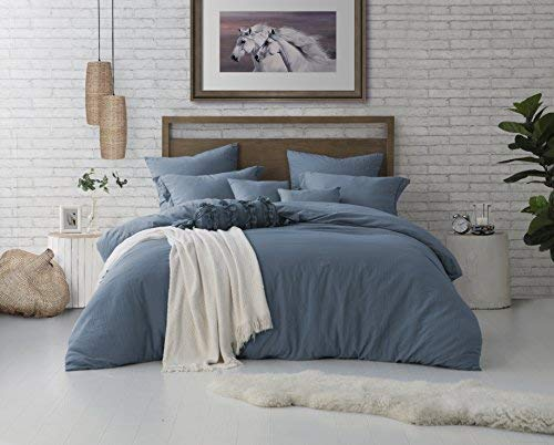 Swift Home Microfiber Washed Crinkle Duvet Cover & Sham (1 Duvet Cover with Zipper Closure & 2 Pillow Shams), Premium Hotel Qaulity Bed Set, Ultra-Soft & Hypoallergenic - Full/Queen, Blue Dusk