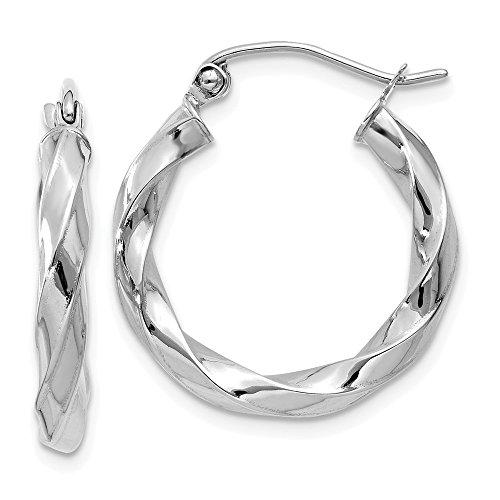d Hoop Earrings in Genuine 14k White Gold - 20 mm ()