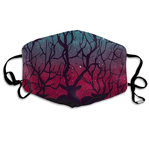 Women & Men Earloop Half Face Mouth Mask Face Masks Anti-Dust Respirator - Premium Windproof Outdoor Mouth Mask for Kids Youth Boys Girls (Stranger Deer in Forest Woodland Forest Tree)