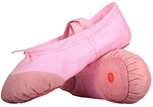 LONSOEN Ballet Slipper Shoes Split-Sole Dance Flat For Girls (Toddler/Little Kid/Big Kid), SHC551 Pink CN36