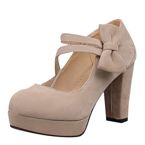 High Heel Hook - Show Shine Women's Fashion Hook and Loop Bows Platform High Heel Shoes (8, Beige)