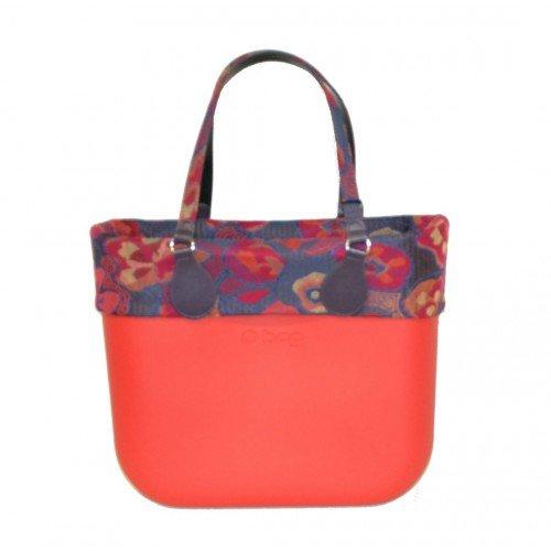 Borsa o bag rossa con manico lungo e bordo coordinato folk flower e sacca (k)