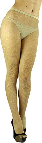 1043b4d1401cb ToBeInStyle Women's Spandex Seamless Glittery Fishnet Pantyhose Tights  Hosiery - Beige With Silver Glitter - One