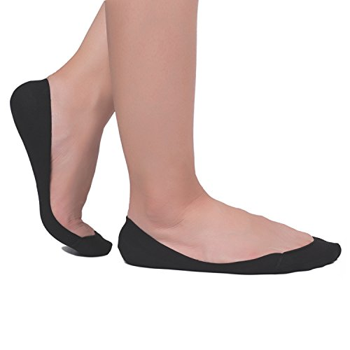 Low Liner (Flammi 4 Pairs Women's TRULY No Show Ultra Low Cut Liner Socks Non Slip Summer Invisible Cotton Socks for Flats High Heels (Black))