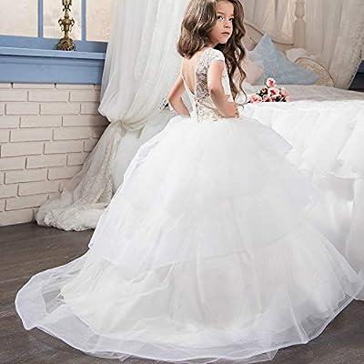Vestido de Fiesta de los niños Princesa Fiesta Vestido de Novia para niños Vestido de Novia de Encaje para niñas Pétalos de Manga Corta Falda mullida ...