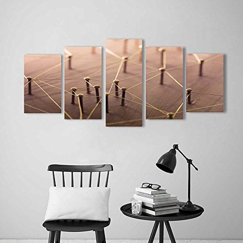 Wulian Painting Combination Frameless Linking Entities Network Networking Social Media connectivity Internet Communication Abstract Restaurant Bedroom Painting