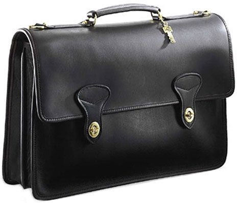 - Jack Georges University Collection Flapover Briefcase w/ 2 Turnlocks (Black)