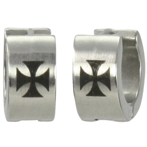 7mm Stainless Steel Iron Cross Huggie Hoop Earrings (Steel Iron Cross)