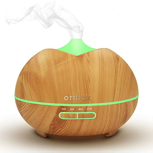 450ml Essential Oil Diffuser, Ottbox Aroma Diffuser Wood Grain Cool Mist Humidifier with 7 Color LED Lights,4 Timer Settings,Waterless Auto Shut-off Aromatherapy Diffuser for Home Office Yoga Gift