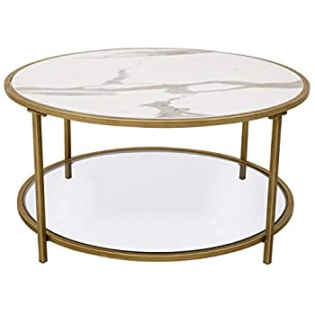 "Ravenna Home Parker Circle Shelf Storage Coffee Table, 31.5""W, Faux Marble & Gold"