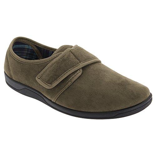 Sleepers Herren Tom Hausschuhe/Pantoffeln mit Klettverschluss, Wildleder-Imitat Khaki