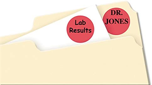 0.75 Inch Diameter Red Avery Print//Write Self-Adhesive Removable Labels 5466 1008 per Pack
