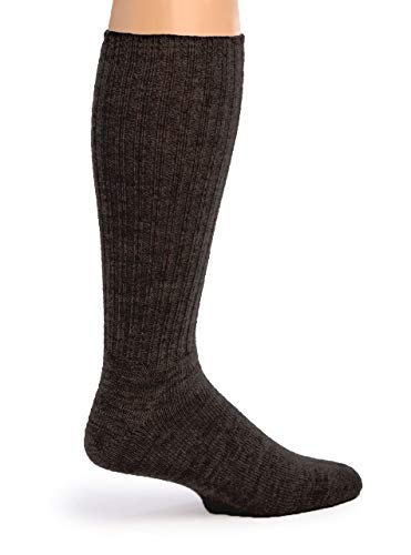 Warrior Alpaca Socks – Women's Ribbed Casual Everyday Alpaca Wool Crew Socks (Charcoal M)
