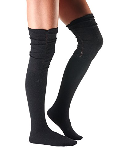 Tavi Noir Charlie Over the Knee Thigh High Cashmere Casual Socks for Boot, Ruffle, and Casual (Charcoal Grey) One Size