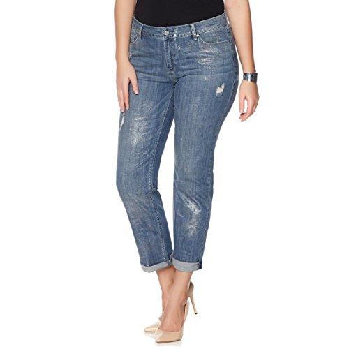 Metallic Zip Fly Jeans - 1