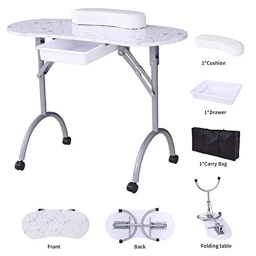 SUNCOO Manicure Nail Table Station Portable Folding Nails Desk Spa Beauty Salon With Rolling Wheels,Carry bag,Drawer,Sponge 35.4