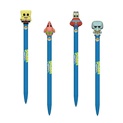 (Funko POP! Spongebob Squarepants: Spongebob Squarepants Patrick Star Mr. Krabs and Squidward Tentacles Pen Toppers - 4 Piece Bundle)