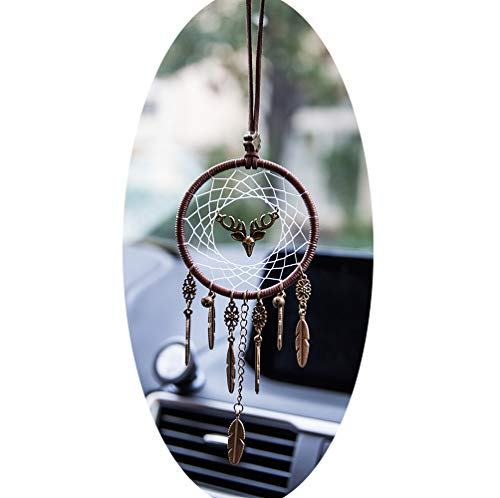 Boltz Deer Dream Catcher Car Charm Rear View Mirror Accessories Wind Chimes Handmade Pendant Ornament Wall Hanging Home Decoration (White Web) by Boltz