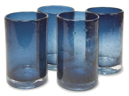 Artland Iris Highball Glasses, Slate Blue, Set of 4