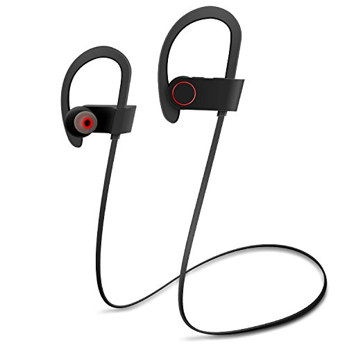 Bluetooth Headphones, Wireless Sport Earphones Over-Ear Waterproof Earbud Behind-Ear Headset, Crystal Clear Sound with Strong Heavy Bass 8 Hours Play, IOS Android Compatible, Hands-Free Calling Mic
