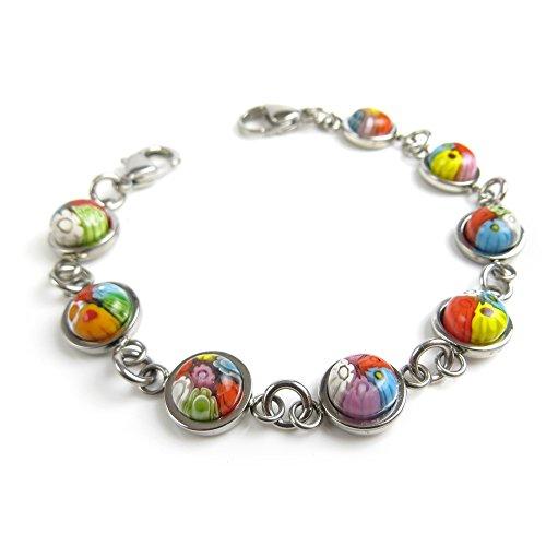 Millefiori Glass Beaded Bracelet - My Identity Doctor - Interchangeable Medical