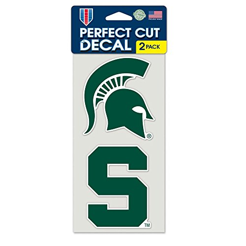 Ncaa Michigan State University Perfect Cut Decal  Set Of 2   4  X 4