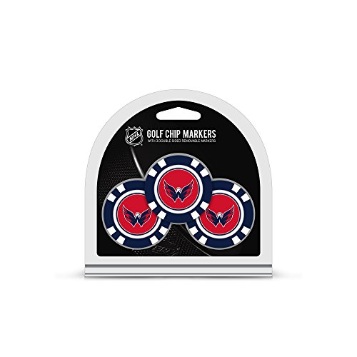 Team Golf NHL Washington Capitals Golf Chip Ball Markers (3 Count), Poker Chip Size with Pop Out Smaller Double-Sided Enamel Markers