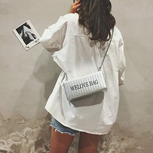 Black Bag Color : Silver ZQ House Leisure Fashion Chain Slant Shoulder Bag for Women