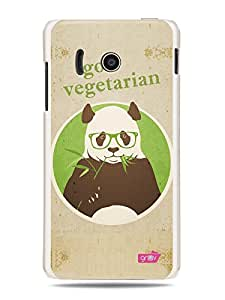 GRÜV Premium Case - 'Healthy Living Health Life Lifestyle Veg Quote : Go Vegetarian Panda' Design - Best Quality Designer Print on White Hard Cover - for Huawei Ascend Y300 U8833 T8833