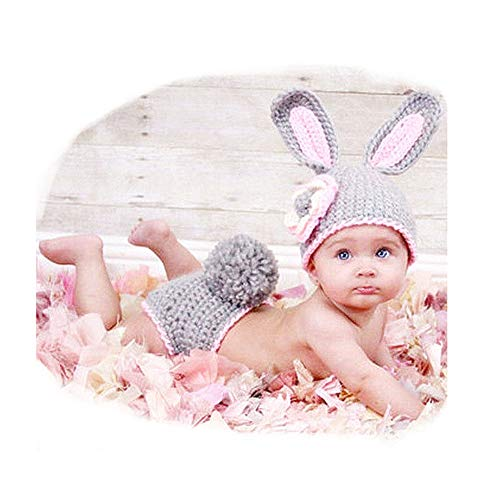 Fashion Newborn Baby Infant Girl Costumes Outfits Photography Props Cute Pink Bunny Rabbit Set ()