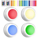 BIGLIGHT Closet Lights with Remote Battery Powered Tap Light Color Changing Night Light with Dimmer and Automatic Modes Stick on Under Cabinet Lights Indoor Wireless Puck Lights LED Push Lights 4 Pack