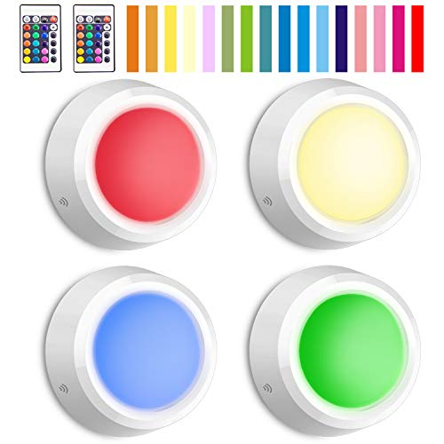 BIGLIGHT Closet Lights with Remote Battery Powered Tap Light Color Changing Night Light with Dimmer and Automatic Modes Stick on Under Cabinet Lights Indoor Wireless Puck Lights LED Push Lights 4 Pack by BIGLIGHT