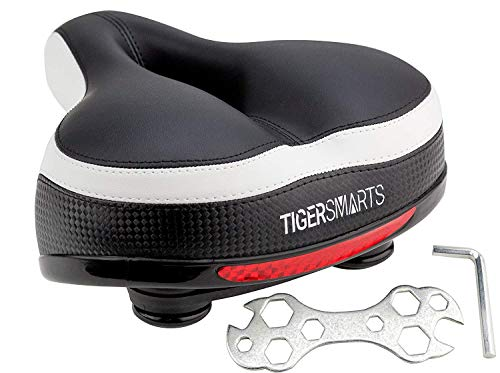 Bike Seat by TigerSmarts Replacement Padded Comfortable Bicycle Seat with Shock Absorbing Springs- Best Bike Saddle Cushion for Electric Bicycles,Mountain and Cruiser Bikes-Improves Riding Comfort -