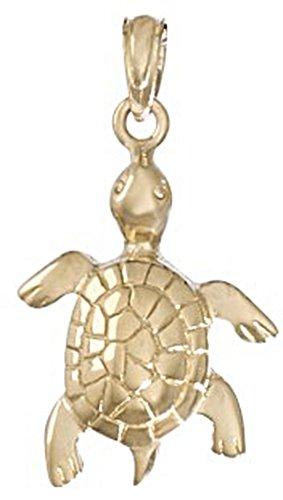 14k Gold Animal Charm, Turtle, High Polish & Textured
