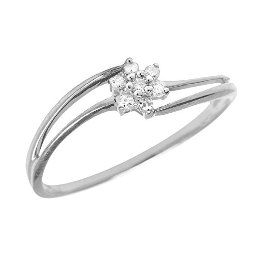 0.14 Carat ct Sterling Silver Round Diamond Flower Cluster Split Shank Bypass Promise Engagement Ring