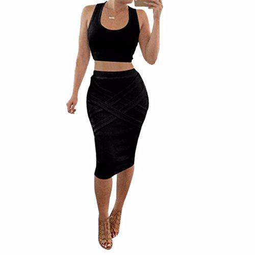 Party Sexy Sans Dress Noir Femmes Le Slim Tops Moulante Manches Deux Longue Jupe Pieces Wrap 5qpwFw
