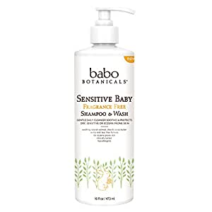 Babo Botanicals Sensitive Baby Fragrance Free Shampoo and Wash, 16 Fluid Ounce