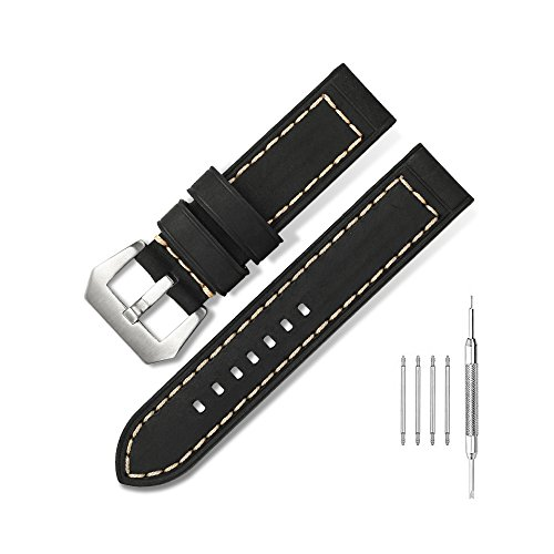 22mm Vintage Calfskin Leather Strap Matte Finish Stainless Steel Pre-V Tang Buckle Clasp Watch Band for Panerai Watch,Black