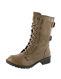 Soda Women's Dome Taupe Combat boots Mid Calf