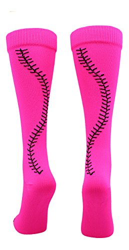 - MadSportsStuff Softball Socks with Stitches Over The Calf (Neon Pink/Black, Medium)