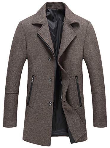 - Youhan Men's Wool Blend Coat Winter Zipper Topcoat (Large, Khaki)