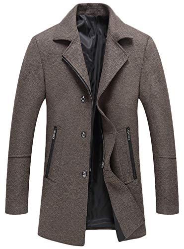 - Youhan Men's Wool Blend Coat Winter Zipper Topcoat (Large, Khaki)